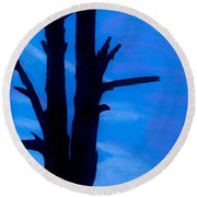 Round Beach Towel featuring the drawing Blue Sky Tree by D Hackett