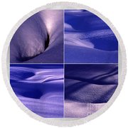 Round Beach Towel featuring the photograph Blue Snow by Randi Grace Nilsberg