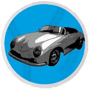 Round Beach Towel featuring the photograph Blue Speedster by J Anthony
