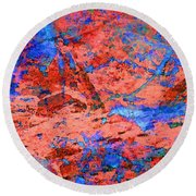Blue Splash Poppy Rock Round Beach Towel
