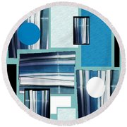 Blue Stacked Up Round Beach Towel