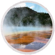 Round Beach Towel featuring the photograph Blue Steam by Laurel Powell