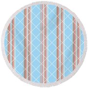 Blue Stripe Pattern Round Beach Towel by Christina Rollo