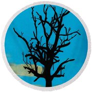 Round Beach Towel featuring the drawing Blue Sunset by D Hackett