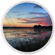 Blue Sunset Over The Refuge Round Beach Towel
