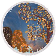 Round Beach Towel featuring the digital art Blue Swirl Girls 2 by Kim Prowse