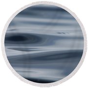 Blue Swirls Round Beach Towel by Cathie Douglas