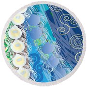 Round Beach Towel featuring the digital art Blue Swirls Detail by Kim Prowse
