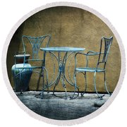 Round Beach Towel featuring the photograph Blue Table And Chairs by Lucinda Walter