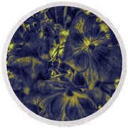 Blue Tango Floral Round Beach Towel