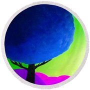 Round Beach Towel featuring the painting Blue Tree by Anita Lewis