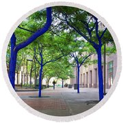 Blue Tree Walkway Round Beach Towel