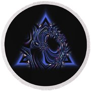 Blue Triangle Jewel Abstract Round Beach Towel