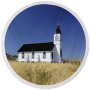 Round Beach Towel featuring the photograph Blue Trim Church by Fran Riley