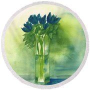 Blue Tulips In Glass Vase Round Beach Towel by Frank Bright
