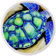 Blue Turtle Round Beach Towel