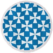 Blue Twirl Round Beach Towel