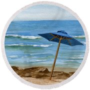 Blue Umbrella Round Beach Towel