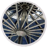 Blue Umbrella Underpinnings Round Beach Towel by Kathy Barney
