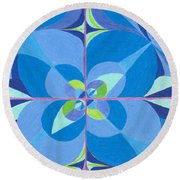 Round Beach Towel featuring the drawing Blue Unity by Kim Sy Ok