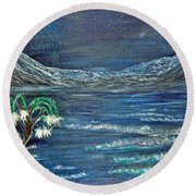 Blue Valley Round Beach Towel
