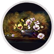 Blue Vase With Pansies Round Beach Towel by Dorothy Maier