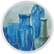 Blue Vases I Round Beach Towel