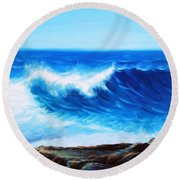 Blue Round Beach Towel by Vesna Martinjak