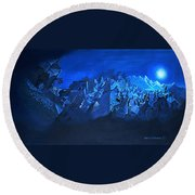 Blue Village Round Beach Towel