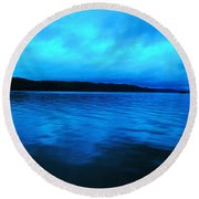 Blue Water In The Morn  Round Beach Towel
