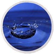 Blue Water Splash Round Beach Towel