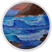 Round Beach Towel featuring the painting Blue Waves Hawaii by Jenny Lee