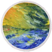 Blue Waves Round Beach Towel by Teresa White