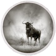Blue Wildebeest In Rainstorm Round Beach Towel