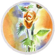 Round Beach Towel featuring the painting Blue With Redy Roses And Holly by Kip DeVore