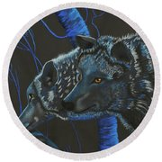 Blue Wolves Round Beach Towel by Mayhem Mediums