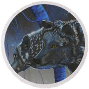 Blue Wolves With Stars Round Beach Towel by Mayhem Mediums
