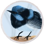 Blue Wren Beauty Round Beach Towel
