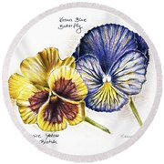 Blue Yellow Pansies Round Beach Towel by Katharina Filus