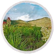 Blue Yucca And Chisos Mountains In Big Bend National Park-texas Round Beach Towel