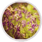 Bluebell In The Woods Round Beach Towel by Spikey Mouse Photography