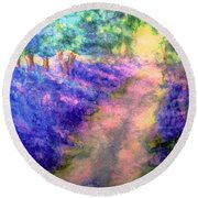 Bluebell Woods Round Beach Towel by Hazel Holland