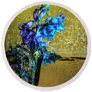Round Beach Towel featuring the mixed media Bluebells In Water Splash by Peter v Quenter