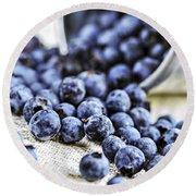 Blueberries Round Beach Towel by Elena Elisseeva