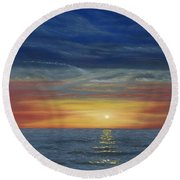 Blueberry Beach Sunset Round Beach Towel