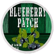 Blueberry Farm Round Beach Towel