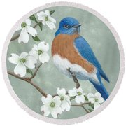 Bluebird And Dogwood Round Beach Towel