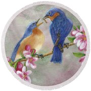 Bluebird Love Round Beach Towel