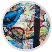 Bluebird Sings With Happiness Round Beach Towel