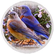 Bluebird Wedding Round Beach Towel